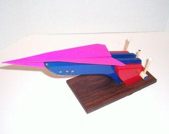 X-7 Goliath. Paper Airplane and Glider Launcher - Blue, Red, Woodgrain Melamine Base