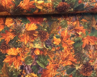 Timeless Treasures Cabin Flannel Packed Leaves Flannel Fabric by the Yard CF3558-NAT