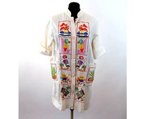 Mexican tourist jacket coat hand embroidered folkloric Size M