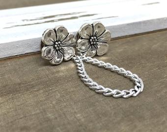 Collar Pin Silver Sweater Clip Cardigan Clip Sweater Guard Silver Flower Delicate