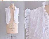 45% OFF SALE.... vintage 1960s eyelet lace blouse • white eyelet vest • vintage boho vest