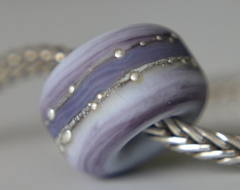 Silver Core Option -  Streaky Purple Handmade Lampwork Glass European Charm Bead with Pure Silver Decoration - Fits all charm bracelets