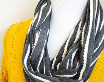Charcoal Gray Striped Infinity Scarf - Circle Scarf, Crowl Scarf, Jersey Knit Scarf