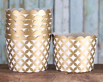 Gold Baking Cups, Gold Cupcake Cups, Gold Candy Cups, Gold Wedding Favor Cups, Small Baking Cups, Christmas Baking Cups (24)