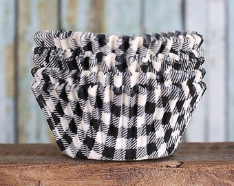Black Gingham Cupcake Liners, Black Check Cupcake Liners, Black Cupcake Liners, Black Baking Cups, Cupcake Cases (50)