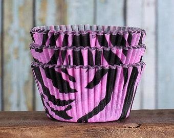 Pink & Black Zebra Stripe Cupcake Liners, Zebra Baking Cups, Zebra Cupcake Wrappers, Zebra Cupcake Liners, Animal Print Cupcake Liners