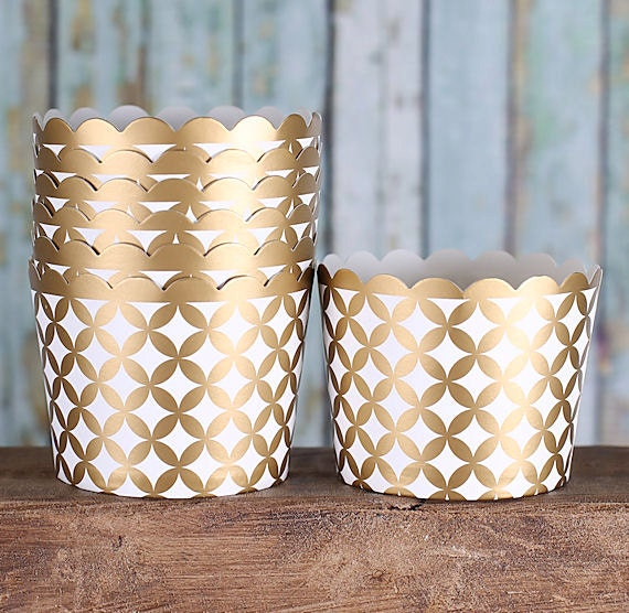 Gold Baking Cups, Metallic Cupcake Cups, Gold Candy Cups, Gold Wedding Favor Cups, Small Baking Cups, Small Treat Cups (24)