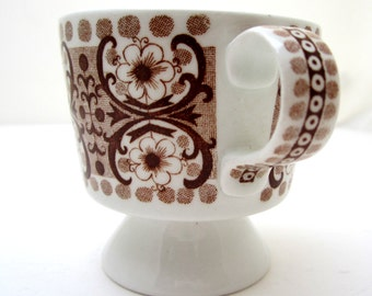 ARABIA FINLAND Ali Pattern Brown Footed Demitasse Cup