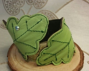 Leather cuff, leather bracelet, leaf cuff