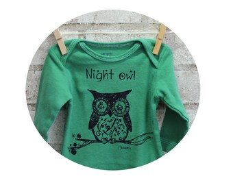 """Owl Long sleeved infant creeper, """"Night Owl"""" cotton baby bodysuit, snapsuit, one piece in Kelly Green, Hand printed, Screen-printed Shirt"""