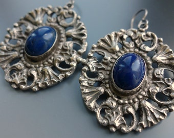 RESERVED Lapis 800 Silver Italian Earrings Peruzzi Style