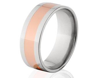 Copper Ring Titanium Wedding Ring Copper Inlay Ring Titanium Wedding Band Titanium Wedding Ring Copper Jewelry Wedding Ring 8F14G-Copper