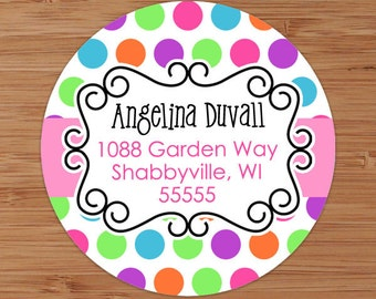 Candy Dots Custom Address Labels or Stickers