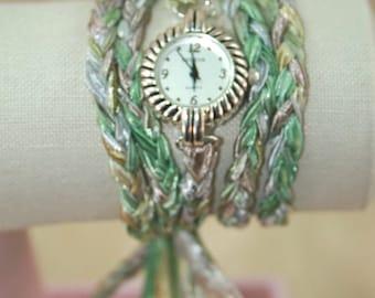 Womens Wrap Watch, Wraparound Watch, Braided Pastel Colors Ribbon Yarn Bracelet Watch, Wrist Watch