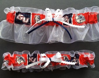 Gonzaga Bulldogs Wedding Garter Set, Handmade, Can Be Personalized