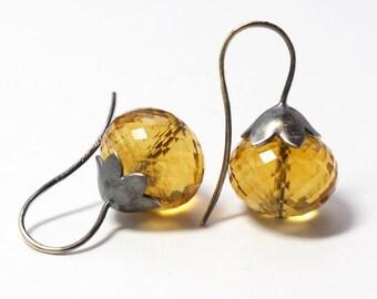 Cognac Citrine Yellow Quartz Morning Glory Pod Earrings