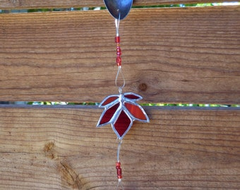 Stained Glass Mobile with Autumn Leaf-Handmade-Window Decor-Christmas-Birthday-Mothers Day-Suncatcher-Fathers Day-Anniversary-House Warming