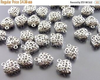 15% OFF 4 small matte silver heart charm brass jewelry charms / puffy filigree pendants 1975-MR
