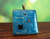 Blue and gold circuit board pendant / keychain