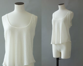 White crochet tank top   1990's by Cubevintage   medium to large