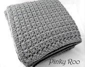 Grey color Crib Size Crochet Baby Blanket / modern nursery / unisex baby blanket / baby gift
