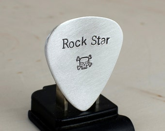 Sterling Guitar Pick  with Rock Star and Skull Stamps - GP1967