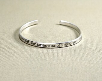 Sterling silver binary code cuff bracelet - Solid 925 Handstamped with Custom Message in Binary Code - BR822