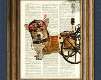 Admiral Wheels the Steampunk Corgi dog illustration beautifully upcycled dictionary page book art print