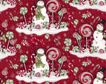 Fun Snowman Peppermint XMAS fabric--Nice Holiday Decor Fabric--Hard Find -- LAST Piece