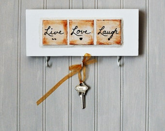 Mosaic Key Holder - Wall Plaque - Painted Tiles - Inspirational - Live - Love - Laugh -Home Decor