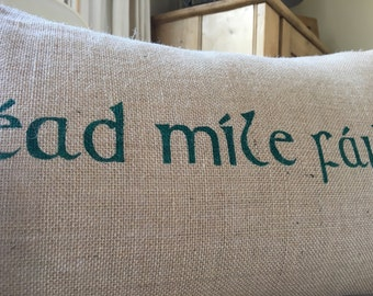 Irish Ireland céad míle fáilte hundred thousand welcome burlap pillow hessian cushion cover - emerald green