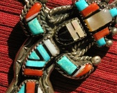 Navajo Sterling Silver Multi-Stone Turquoise Yei Kachina Pendant Necklace