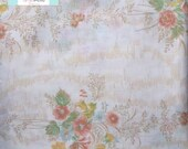 Full Vintage Flat Sheet with Tan Shabby Floral