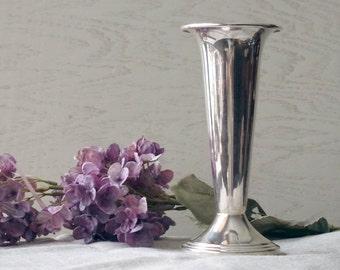 Vintage Silver Trumpet Vase - 1960s Silver Plate Flower Vase - Silver on Copper Vase