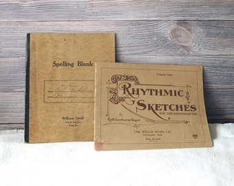 Antique Student Spelling and Music Books Mostly Empty 1920's Blank Notebooks Journal