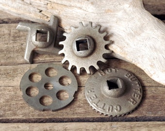 Vintage Nut Butter Cutter Blades Grinder Parts Metal Gears Set of 4