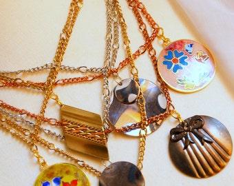 Steampunk Multiple Pendant chains necklace - Vintage Pendants Necklace - Statement Neckline Decoration