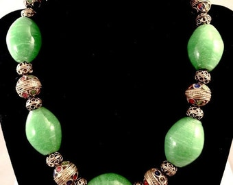 CIJ Christmas July SALE Beautiful Tribal Middle Eastern Green Art Glass Painted Enamel Silver Vintage Necklace