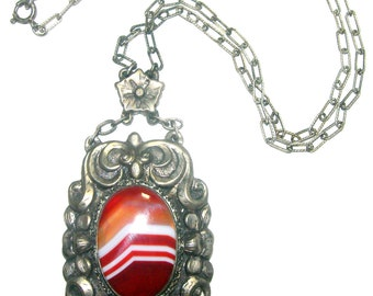 Stunning  Rare Victorian Renaissance Ornate Silver Old Chinese Orange Banded Agate  Vintage Antique Necklace