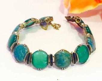 Valentines Lovers SALE Art Deco Chrysoprase Sodalite Black Enamel Vintage Bracelet Art Deco Jewelry
