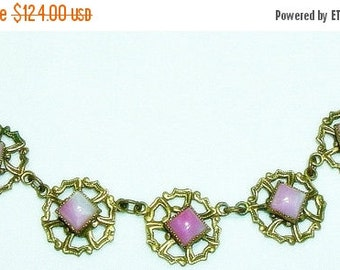 Spring Sale Beautiful Victorian Art Nouveau Pink Swirl Art Glass Ornate Brass Vintage Antique Necklace