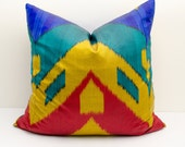 """20x20""""  blue red yellow ikat pillow cover, cushion case, ikat, yellow ikat pillow cover, decorative pillows, throw pillows, throw pillows"""