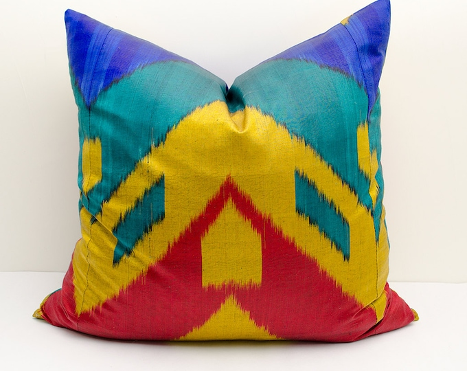 14x14 red blue cream ikat pillow cover cushion case ikat