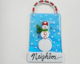 Blue  Fused Glass Snowman  Christmas Ornament Suncatcher keepsake