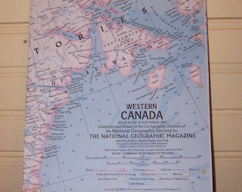 Vintage WESTERN CANADA MAP, September 1966 National Geographic Magazine Original Insert
