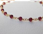 Garnet Bead Bracelet - Gold Filled Beaded Rosary Bracelet Beadwork Bracelet Oxblood Red