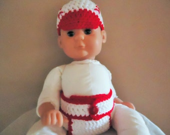 baseball hat and diaper cover in crochet