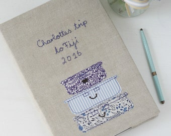 Personalised Travel Notebook - floral and stripes