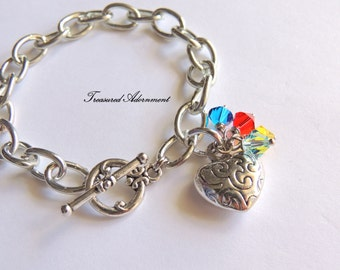 READY TO SHIP, Autism Awareness Bracelet, Swarovski Crystals, April gift, Thank you gift, heart charm bracelet, puzzle piece