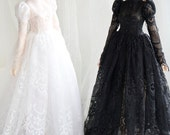 Sweet Sisters - black lace dress for slim Mini Super Dollfie Minifee Luts Soom Fairyland MNF Moe A-line